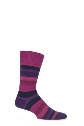 Mens 1 Pair Falke Lhasa Striped Cashmere Blend Leisure Socks Pink 39-42