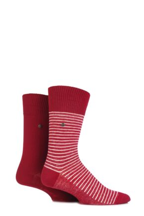 Mens 2 Pair Levis 168SF Comfort Top Fine Striped Cotton Socks Red 6-8