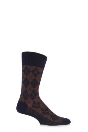Mens 1 Pair Burlington Hampstead Wool All Over Argyle Socks Marine