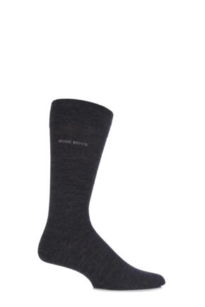 Mens 1 Pair Hugo Boss John Plain Finest Wool and Soft Cotton Socks Charcoal 43-44