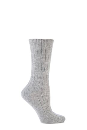 Ladies 1 Pair SockShop of London 100% Cashmere Bed Socks Light Grey Melange