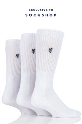 Mens 3 Pair Pringle Bamboo Cushioned Sports Socks Exclusive To SockShop White