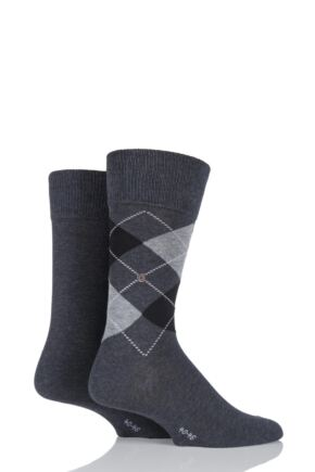 Mens 2 Pair Burlington Cotton and Plain Socks LIMITED EDITION