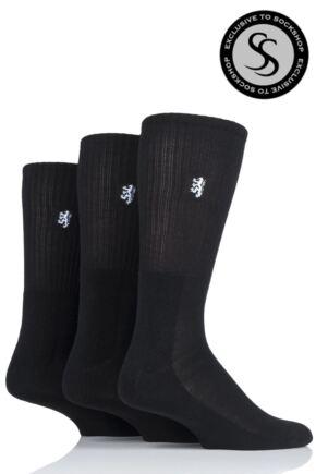 Mens 3 Pair Pringle Bamboo Cushioned Sports Socks Exclusive To SockShop Black