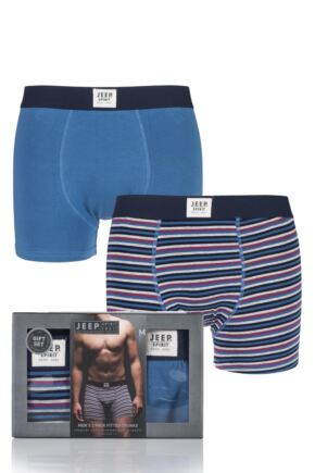 Mens 2 Pair Jeep Spirit Cotton Rich Fitted Trunks Gift Box