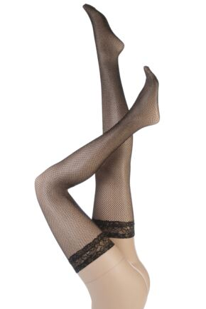 Ladies 1 Pair Silky Party Can Can Glitter Fishnet Lace Top Hold Ups