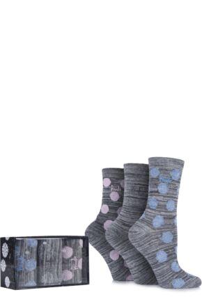 Ladies 3 Pair Pringle Gift Boxed Salena Glitter Spot and Marl Striped Cotton Socks Grey 4-8 Ladies