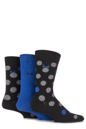 Mens 3 Pair Pringle Balmaha Fluffy Polka Dot Cotton Socks 25% OFF This Style