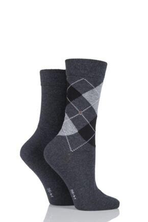 Ladies 2 Pair Burlington Cotton and Plain Socks LIMITED EDITION Charcoal 2.5-6.5 Ladies