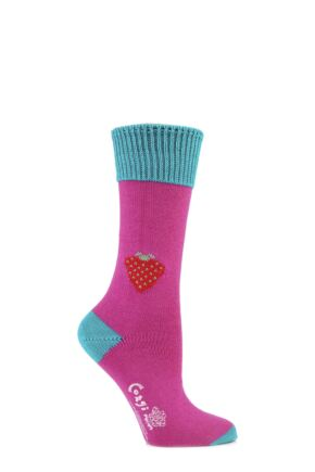Ladies 1 Pair Corgi 100% Cotton Strawberry Socks