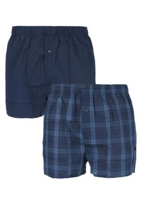 Mens 2 Pack Farah 100% Cotton Checked Woven Boxers In Navy