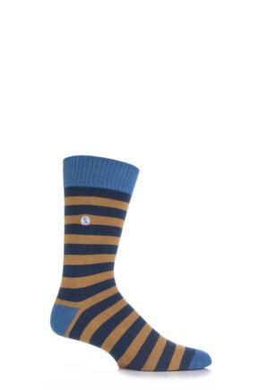 Mens 1 Pair SockShop Striped Colour Burst Socks Golden Dune 7-11