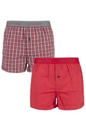 Mens 2 Pack Calvin Klein Check and Striped Woven Boxer Shorts Ignite Red Medium
