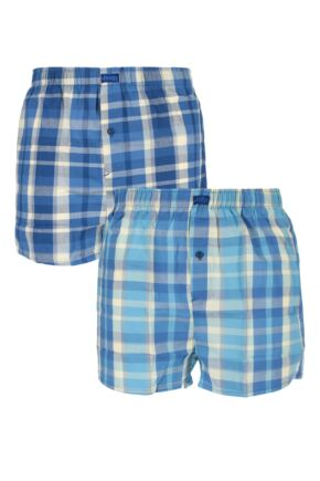 Mens 2 Pack Jeep Woven Boxer Shorts In Blue