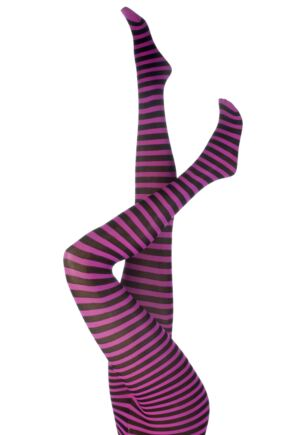 Ladies 1 Pair Silky Scarlet Ringer Striped Tights Black / Neon Pink