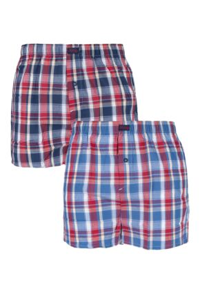 Mens 2 Pack Jeep Woven Boxer Shorts In Navy