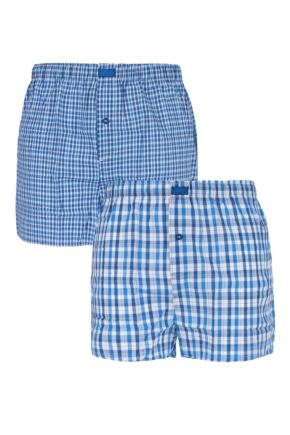 Mens 2 Pack Jeep Woven Boxer Shorts In Light Blue