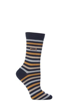 Ladies 1 Pair Elle Wool and Viscose Striped Socks