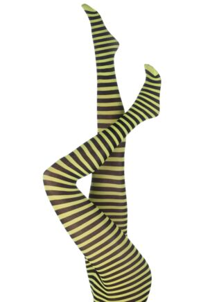 Ladies 1 Pair Silky Scarlet Ringer Striped Tights Black / Neon Yellow