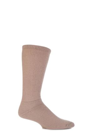 Mens 1 Pair HJ Hall Wool Diabetic Socks Beige 6-11
