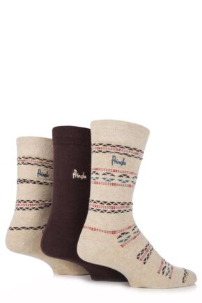Mens 3 Pair Pringle Viewpark Fair Isle and Plain Cotton Socks