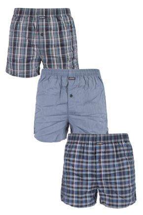 Mens 3 Pack Jockey Flight Pioneers 100% Cotton Check and Plain Woven Boxer Shorts Grey Small