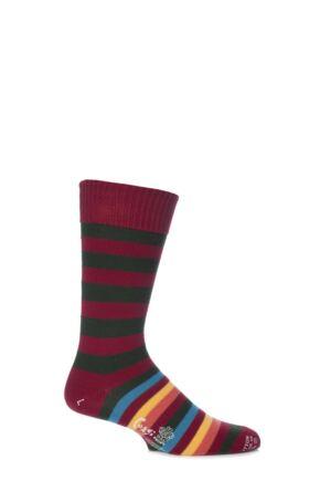Mens 1 Pair Corgi 100% Cotton Half Striped Socks