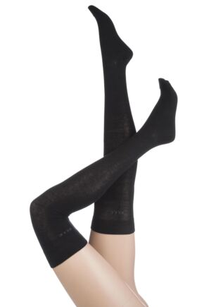Ladies 2 Pair Elle Plain Cotton Over The Knee Socks Black