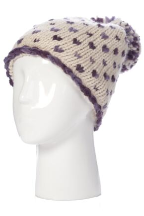 Ladies SockShop Minnie Hearts with Pompoms Knitted Hat 50% OFF