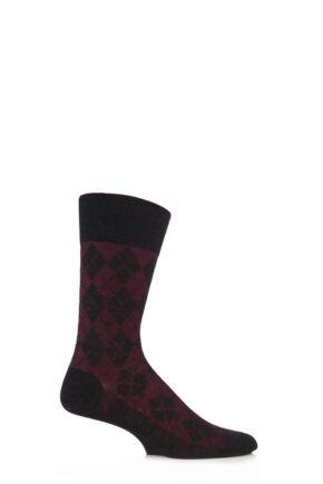 Mens 1 Pair Burlington Hampstead Wool All Over Argyle Socks Anthracite Melange