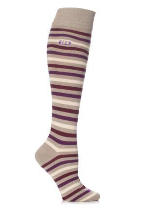 Ladies 1 Pair Elle Wool and Viscose Striped Knee High Socks Mid Muted