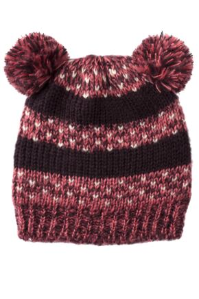 Ladies SockShop Teddy Beanie Hat With Pompom Ears Berry