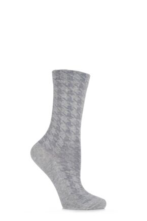 Ladies 1 Pair Falke Houndstooth Angora Socks Light Grey 39-42