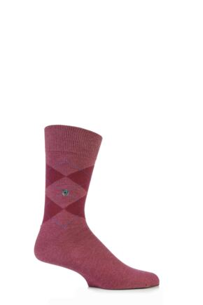 Mens 1 Pair Burlington Denim Argyle Cotton Socks Maroon