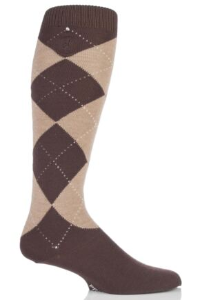 Mens 1 Pair Pringle of Scotland 80% Cashmere Argyle Pattern Knee High Socks Brown