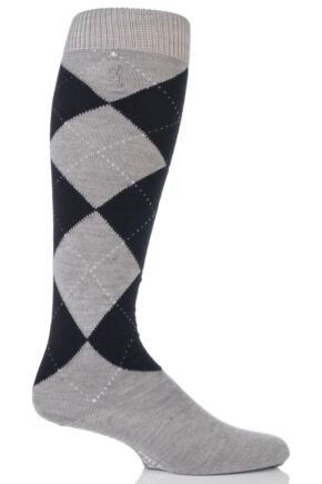 Mens 1 Pair Pringle of Scotland 80% Cashmere Argyle Pattern Knee High Socks Grey