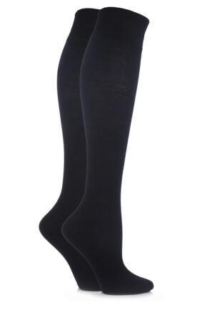 Ladies 2 Pair Elle Plain Cotton Knee Highs Black