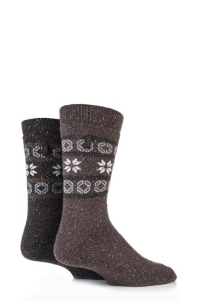 Mens 2 Pair Jeep Wool Thermal Alpine Fairisle Boot Socks