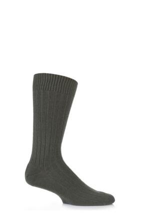 Mens 1 Pair Pantherella 85% Cashmere Rib Socks Olive 6.5-8.5