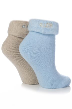 Ladies 2 Pair Elle Original Cosy Bed Socks In 3 Colours