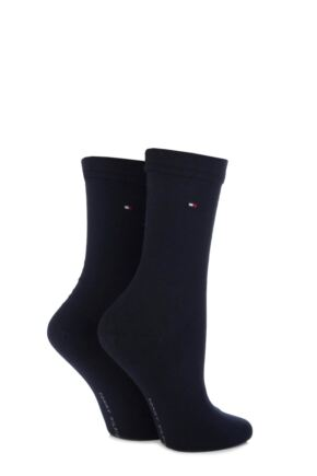 Ladies 2 Pair Tommy Hilfiger Plain Cotton Socks