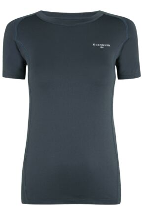 Ladies 1 Pack Glenmuir Short Sleeved Compression Base Layer T-Shirt Grey 10-12