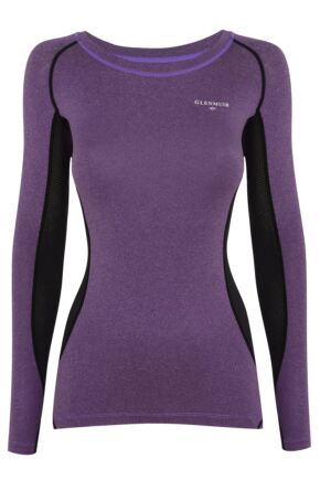 Ladies 1 Pack Glenmuir Long Sleeved Compression Base Layer T-Shirt Purple 10-12 Ladies