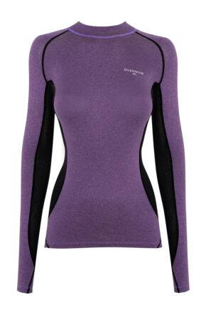 Ladies 1 Pack Glenmuir High Neck, Long Sleeved Compression Base Layer T-Shirt Purple 12-14 Ladies
