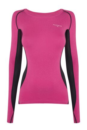 Ladies 1 Pack Glenmuir Long Sleeved Compression Base Layer T-Shirt Pink 12-14 Ladies