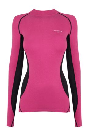 Ladies 1 Pack Glenmuir High Neck, Long Sleeved Compression Base Layer T-Shirt Pink 8-10 Ladies