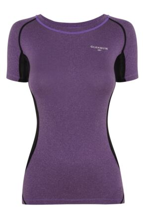 Ladies 1 Pack Glenmuir Short Sleeved Compression Base Layer T-Shirt Purple 10-12 Ladies