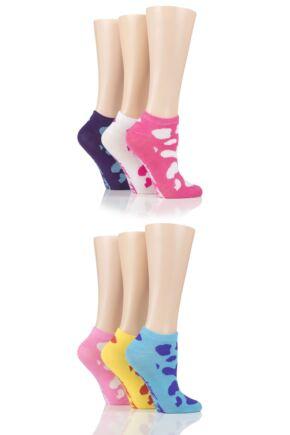 Ladies 6 Pair SOCKSHOP Dare to Wear Patterned and Plain Trainer Socks