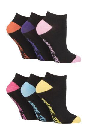 Ladies 6 Pair SOCKSHOP Dare to Wear Patterned and Plain Trainer Socks Black/Pink 4 - 8