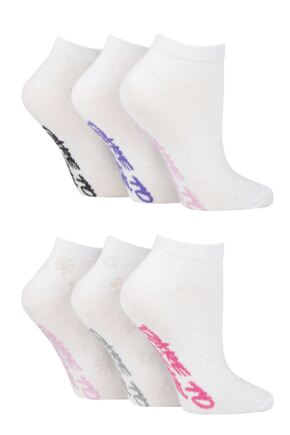 Ladies 6 Pair Dare to Wear Pique Knit Patterned Trainer Socks